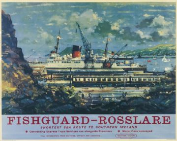Irish poster, Fishguard, Rosslare, British Railway's, travel poster print